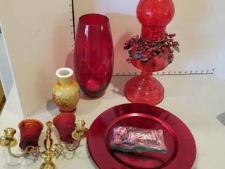 Red kerosene lamp  vases  candleholders and chargers