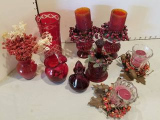 Red candleholders and decor items