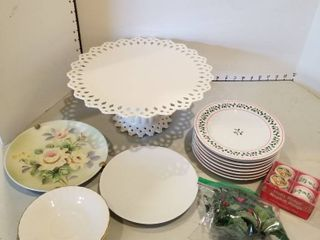 Cake plate  holiday plates and napkin rings and plates