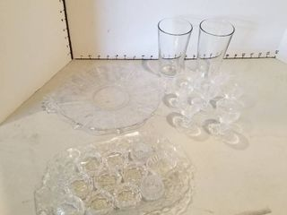 Glass platters  napkin rings and glasses