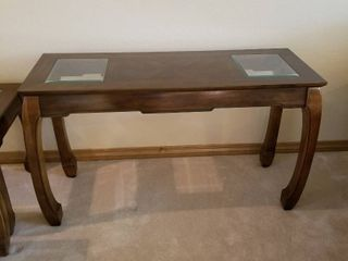 Thomasville Sofa table with 2 glass inserts 28 x 48 x 18