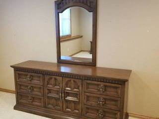 Dresser with mirror 31 by 74 by 19