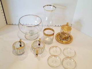 11 piece gold rimmed service ware