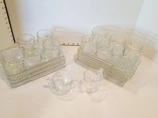 Set of 9 snack trays with 10 cups and creamer and sugar bowl