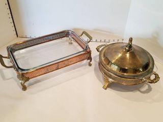 Set of 2 silver plate serving dishes