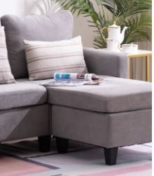 Zimtown Corner Chair w  Ottoman   Grey Black