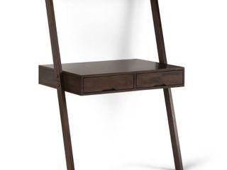 WYNDENHAll Darren SOlID WOOD Rustic 36 inch Wide Modern leaning Desk in Warm Walnut Brown Retail 265 49