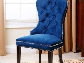 Abbyson Velvet Dining Chair   Navy Blue