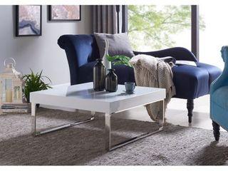Handy living Enrique White Square Coffee Table w  Chrome legs