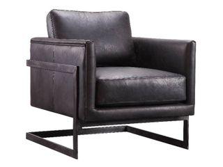 Aurelle Home Industrial Top Grain leather Accent Chair