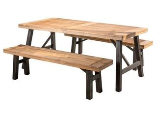 Boracay Outdoor Picnic Dining Bench Set by Christopher Knight Home  2 Benches  Retail 557 99