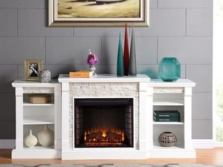 Copper Grove Marigold White Stone Electric Fireplace and Bookcases Retail 735 49