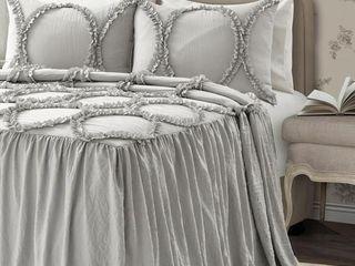 King 3pc Riviera Bedspread Set light Gray   lush Decor