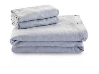 Malouf Vintage Wash French linen Duvet w  Matching Pillow Shams   King