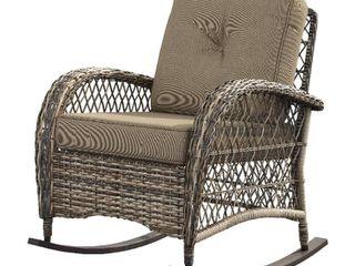 Starsong Outdoor Patio Ricking Chair   Camel Canvas