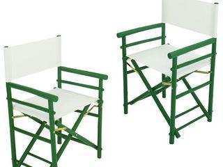 Handcrafted Bamboo Indoor Outdoor Folding Director Chair   Green   Set of 2