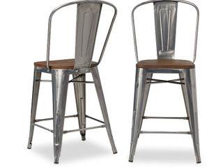Carbon loft Bistro Wood Seat Gunmetal Finish Counter Stools   Set of 2