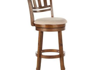The Gray Barn McNiven 30 inch Swivel Stool with Slatted Back   Cream Beige
