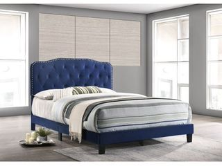 Best Quality Furniture Upholstered Button Tufted Panel Bed   Queen  Retail 227 05