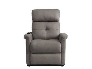 Power lift Recliner with Side Pockets  Grey Micro Suede