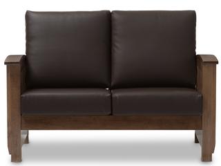 Baxton Studio SW3513 Dark Brown Walnut M17 lS CTN2 Charlotte Modern Classic Mission Style Walnut Brown Wood   Dark Brown Faux leather 2 Seater loveseat