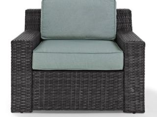 Beaufort Outdoor Wicker Arm Chair w  Cushions   Brown Teal