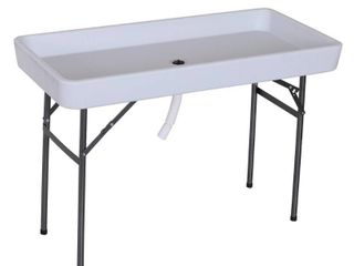 Outsunny 4FT Portable Folding Fish Fillet Cleaning Table Camping Picnic Ice Party Desk with Sink   Water Drainage   White