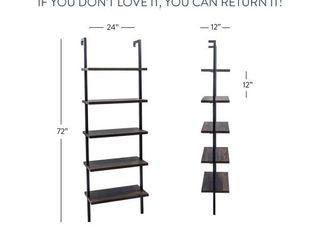 5 Shelf Wood ladder Bookcase w  Metal Frame