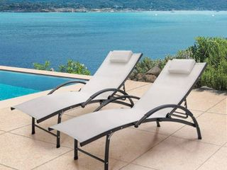 Outdoor Aluminum Adjustable Reclining Chaise lounge Chairs  Set of 2    65 35 l x 26 97 W x 32 48 H inches Retail 277 99