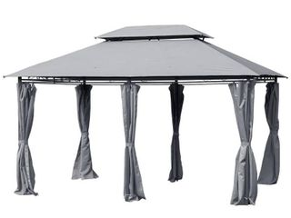 Outsunny 10  x 13  2 Tier Steel Outdoor Garden Gazebo With Vented Soft Top Canopy