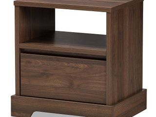 Burnwood Modern   Contemporary Walnut Finished Wood 1 Drawer Nightstand Brown