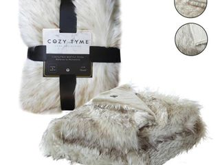Cozy Tyme luxe Collection 50x60 luxury Stitched Faux Fur Throw Reverse to Micromink