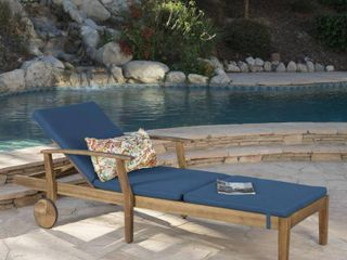 Perla Outdoor Acacia Wood Chaise lounge with Cushion by Christopher Knight Home