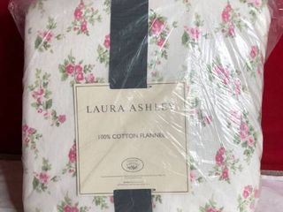 laura Ashley Audrey Flannel Sheet Set King   Pink