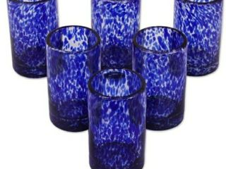 Handmade Blown Glass Marine Tumblers  Set of 6  Mexico