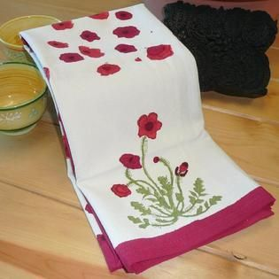 Couleur Nature Poppies Tea Towels  20 x 30 inch  Set of 3