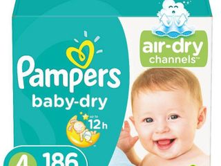 Pampers Baby Dry Disposable Diapers One Month Supply   Size 4  186ct