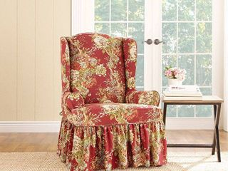 Ballad Bouquet Wing Room Chair Cover Crimson  Red    Sure Fit