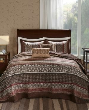 Red Cambridge Jacquard Bedspread Set Queen 5pc
