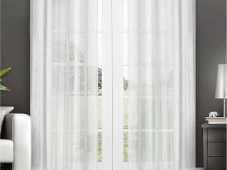 Set of 2 108 x50  Penny Sheer Window Curtain Panels White   Exclusive Home