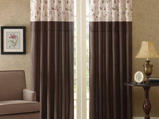 84 x50  Monroe Embroidered light Filtering Curtain Panel Red