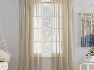 59 x63  Emily Sheer Voile Rod Pocket Curtain Panel Beige   No  918
