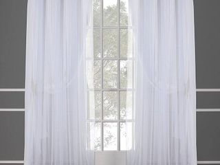 Set of 2 108 x52  Catarina layered Solid Blackout and Sheer Window Curtain Panel with Grommet Top White   Exclusive Home