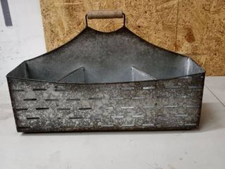 galvanized metal caddy with handle country Farmhouse decor