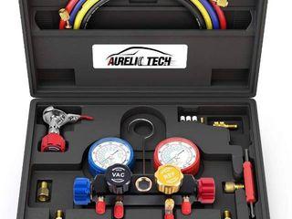 4 Way AC Diagnostic Manifold Gauge Set for Freon Charging and Vacuum Pump Evacuation