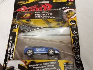 Rc Pocket Racers Remote Control Rechargeable Vehicle Micro Race Cars Blue Bullet