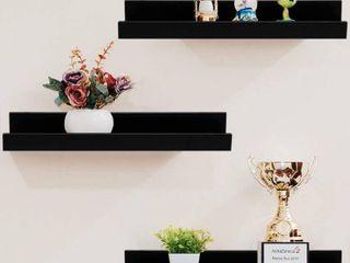 Shelving Solution 16 inch Floating Wall Shelves  Set of 3  Black