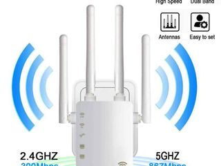WiFi Range Extender Amplifier Wireless Signal Booster Up to 1200Mbp  2 4   5GHz Dual Band with Repeater AP Router with Access Ethernet Port Easy Set Up and Usage