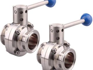 DERNORD 2 Pack 1 5 Inch Tri Clamp Sanitary Butterfly Valve with Pull Handle