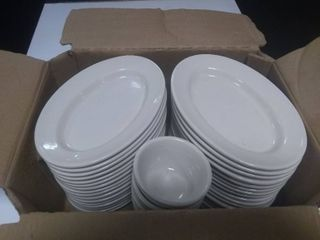 Box of Approx 38pcs Oval Serving Plates and Ice Cream Dishes